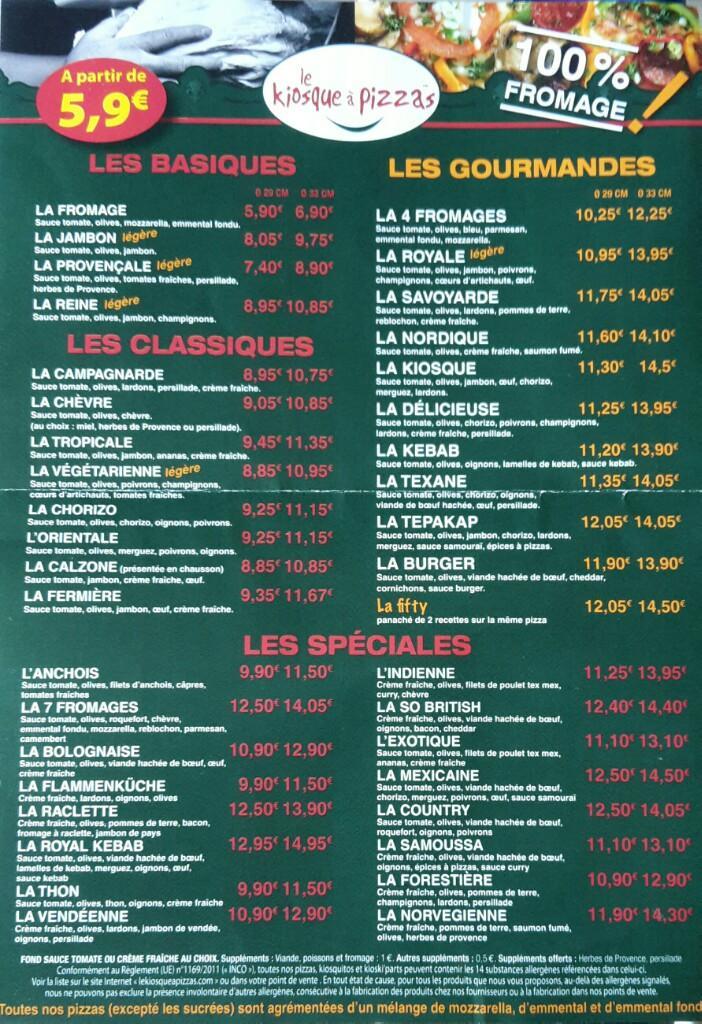 Carte Kiosque A Pizza.Le Kiosque A Pizzas 1 R Nantes 85190 Beaulieu Sous La Roche